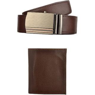Exotique Mens Brown Casual Belt & Wallet Combo