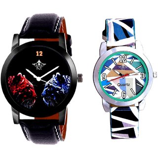 2 Jaguar And Multi Colour Sky Blue Couple Casual Analogue Wrist Watch By Google Hub