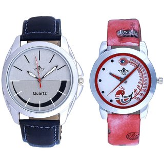 Royal Silver-Black Dial And Red Peacock Colour Couple Casual Analogue Wrist Watch By Google Hub