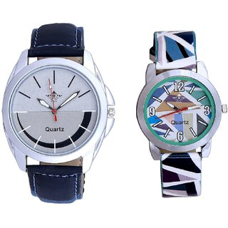 Royal Silver-Black Dial And Multi Colour Sky Blue Couple Casual Analogue Wrist Watch By Google Hub