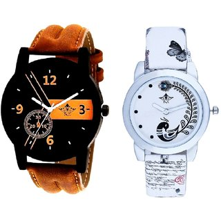 Luxury Brown Leather Strap And White Peacock Feathers Couple Casual Analogue Wrist Watch By Google Hub