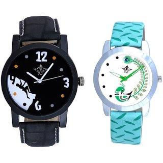 Goal Achived Motivated And Green Peacock Couple Casual Analogue Wrist Watch By Google Hub