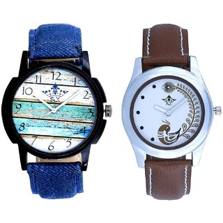 Spanish Special Colour And Brown Peacock Feathers Colour Couple Casual Analogue Watch By Google Hub