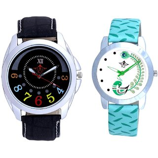 Classical Black Round Dial And Green Peacock Couple Casual Analogue Wrist Watch By Google Hub