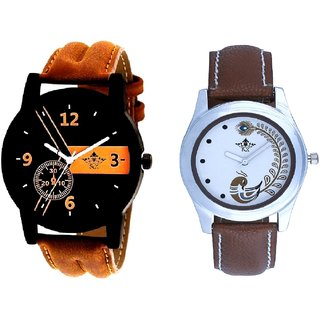 Luxury Brown Leather Strap And Brown Peacock Feathers Colour Couple Casual Analogue Watch By Google Hub