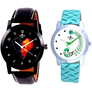 Love Print Dial And Green Peacock Couple Casual Analogue Wrist Watch By Google Hub
