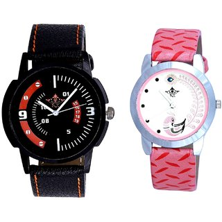 Attractive Sport Design And Pink Peacock Colour Couple Casual Analogue Watch By Google Hub