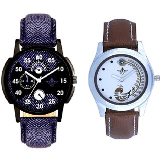 Latest Blue And Brown Peacock Feathers Colour Couple Casual Analogue Watch By Google Hub