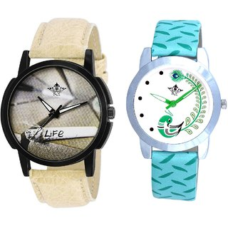 Life Print Dial And Green Peacock Couple Casual Analogue Wrist Watch By Google Hub