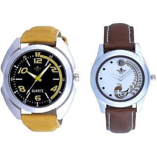 Fancy Yellow Sports Strap And Brown Peacock Feathers Colour Couple Casual Analogue Watch By Google Hub