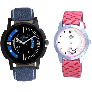 Awesome Blue Sport Dial And Pink Peacock Colour Couple Casual Analogue Watch By Google Hub