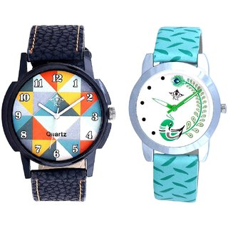 Fancy Orange Colour And Green Peacock Couple Casual Analogue Wrist Watch By Google Hub