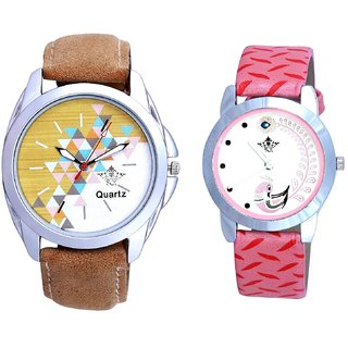 Attractive Design Brown Belt And Pink Peacock Colour Couple Casual Analogue Watch By Google Hub
