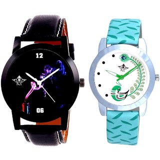 Black Cigar Dial And Green Peacock Couple Casual Analogue Wrist Watch By Google Hub