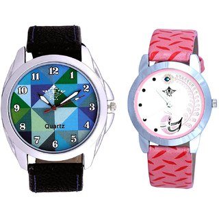 Royal Sky Colour Art And Pink Peacock Colour Couple Casual Analogue Watch By Google Hub