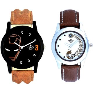 Iron Man Round Dial And Brown Peacock Feathers Colour Couple Casual Analogue Watch By Google Hub