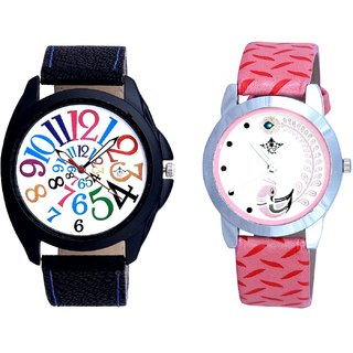 Addition Multi Colour Digits And Pink Peacock Colour Couple Casual Analogue Watch By Google Hub