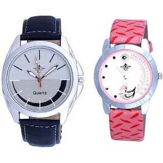 Royal Silver-Black Dial And Pink Peacock Colour Couple Casual Analogue Watch By Google Hub