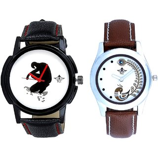 Fancy White Dial And Brown Peacock Feathers Colour Couple Casual Analogue Watch By Google Hub