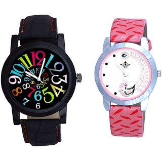 Spanish Special Colour Digit And Pink Peacock Colour Couple Casual Analogue Watch By Google Hub