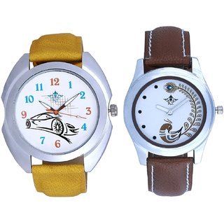 Rolls-Royce Car And Brown Peacock Feathers Colour Couple Casual Analogue Watch By Google Hub