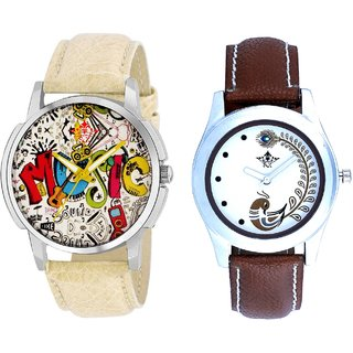 Rock Music And Brown Peacock Feathers Colour Couple Casual Analogue Watch By Google Hub