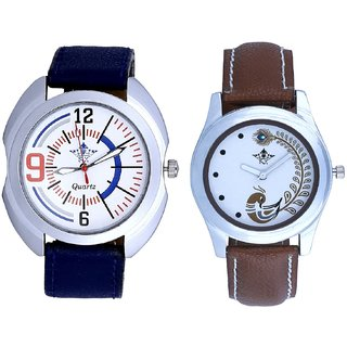 Blue Sport Leather Strap And Brown Peacock Feathers Colour Couple Casual Analogue Watch By Google Hub