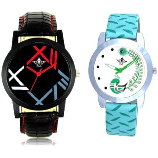 Fancy Roman Digit And Green Peacock Couple Casual Analogue Wrist Watch By Google Hub