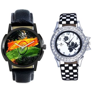 Indian Flage And Black-White Flowers Design Couple Casual Analogue Watch By Google Hub
