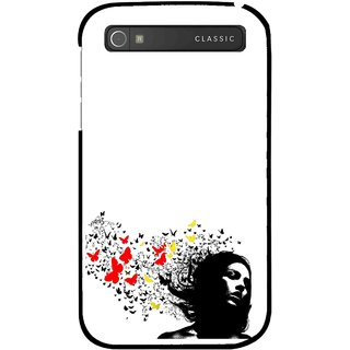 Snooky Printed Butterfly Girl Mobile Back Cover For Blackberry Classic - Multicolour