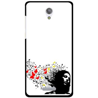 Snooky Printed Butterfly Girl Mobile Back Cover For Gionee Marathon M4 - Multicolour