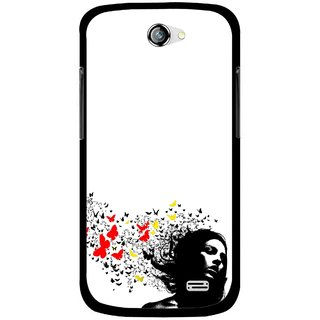 Snooky Printed Butterfly Girl Mobile Back Cover For Gionee Pioneer P2 - Multicolour