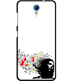 Snooky Printed Butterfly Girl Mobile Back Cover For HTC Desire 620 - Multicolour