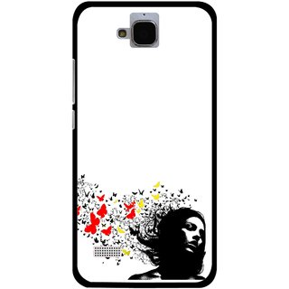 Snooky Printed Butterfly Girl Mobile Back Cover For Huawei Honor Holly - Multicolour