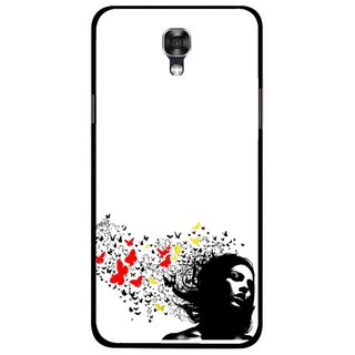 Snooky Printed Butterfly Girl Mobile Back Cover For Lg X Screen - Multicolour
