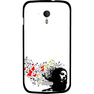 Snooky Printed Butterfly Girl Mobile Back Cover For Micromax A116 - Multicolour