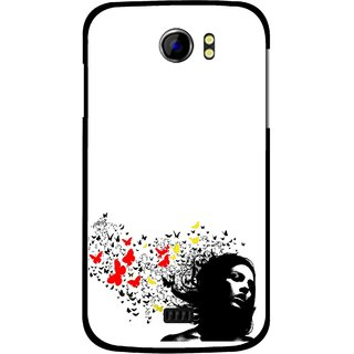 Snooky Printed Butterfly Girl Mobile Back Cover For Micromax Canvas 2 A110 - Multicolour