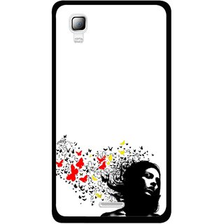 Snooky Printed Butterfly Girl Mobile Back Cover For Micromax Canvas Doodle 3 A102 - Multicolour