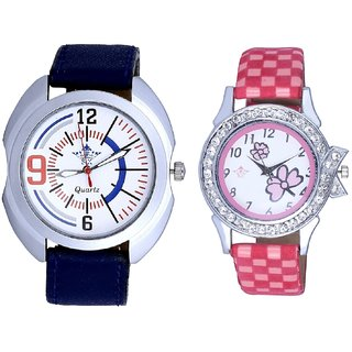 Blue Sport Leather Strap And Pink Flowers Design Couple Casual Analogue Wrist Watch By Google Hub
