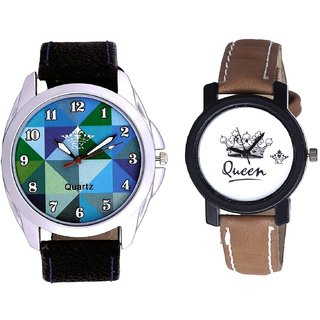 Royal Sky Colour Art And Queen Taj Design Dial Couple Casual Analogue Wrist Watch By Google Hub