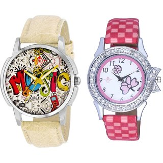 Rock Music And Pink Flowers Design Couple Casual Analogue Wrist Watch By Google Hub