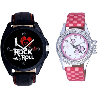 I Love Rock N Roll Print Dial And Pink Flowers Design Couple Casual Analogue Wrist Watch By Google Hub