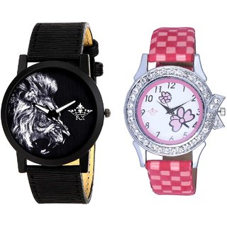 White Lion And Pink Flowers Design Couple Casual Analogue Wrist Watch By Google Hub