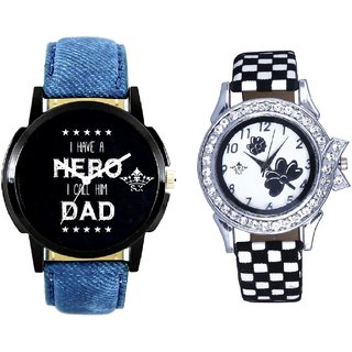 My Ded My Hero Round Dial And Black-White Flowers Design Couple Casual Analogue Watch By Google Hub