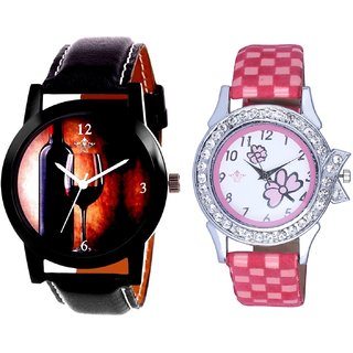 Wine Glass Luxury Style And Pink Flowers Design Couple Casual Analogue Wrist Watch By Google Hub