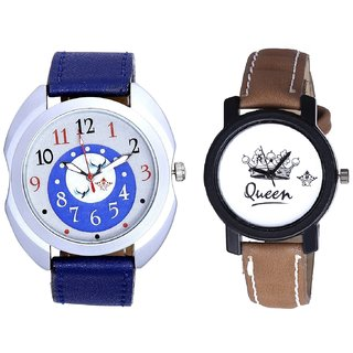 Almight Blue Round Dial And Queen Taj Design Dial Couple Casual Analogue Wrist Watch By Google Hub