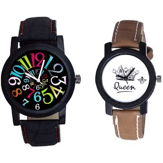 Spanish Special Colour Digit And Queen Taj Design Dial Couple Casual Analogue Wrist Watch By Google Hub