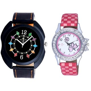 Fancy 3D Chain Look And Pink Flowers Design Couple Casual Analogue Wrist Watch By Google Hub