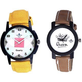 Luxury Square Design And Queen Taj Design Dial Couple Casual Analogue Wrist Watch By Google Hub