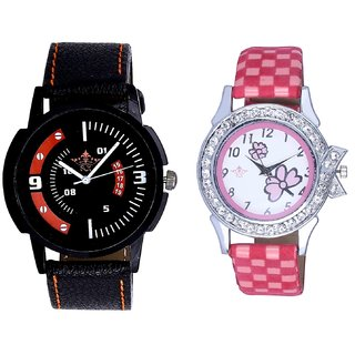 Attractive Sport Design And Pink Flowers Design Couple Casual Analogue Wrist Watch By Google Hub